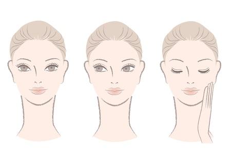 スキンケア、美容ケア化粧サンプル女性の肖像画分離された白の美しい女性の顔のセット手描きのようなスタイル  イラスト・ベクター素材