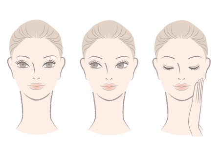Set of Beautiful woman faces for skincare, beauty care, makeup sample  Woman portrait  Isolated on white  Hand-drawn like style