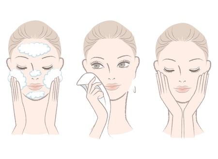 rosto: Conjunto de fresca, bela mulher retrato, em processo de lavar o rosto com uma toalha de rosto Limpando Isolado no branco desenhado mão como estilo