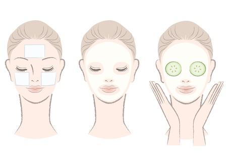 Set elegante, schöne Frau mit Gesichtsmaske Clay, Wattepad, Gurkenscheibe Maske Isoliert, wie Stil von Hand gezeichnet