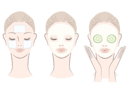 close up face: Set of elegant, beautiful woman with face mask  Clay,Cotton pad,Cucumber slice mask  Isolated, Hand-drawn like style  Illustration