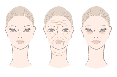 arrugas: Hermosa mujer recibiendo arrugas, pliegues, líneas y bolsas debajo de los ojos a medida que envejece aislado en blanco Vectores