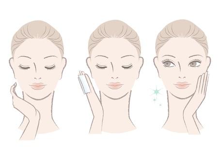 Set frische nette Frau Porträt Anwendung Gesichtswasser, ihr Gesicht zu berühren Moisturizing wie Stil isoliert auf weiß Hand gezeichnet