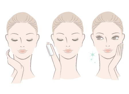 skincare facial: Set of fresh cute woman portrait  Applying facial lotion, touching her face Moisturizing  Hand-drawn like style  Isolated on white