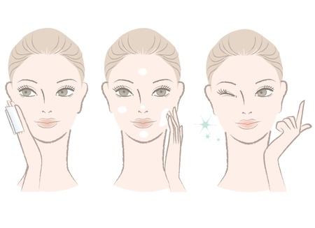 piel: Conjunto de retrato hermoso, mujer dulce, Aplicaci�n cuidado de la piel de t�ner y la crema en su cara gui�o con un dedo