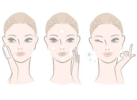 lotion: Set of Beautiful, fresh woman portrait,  Applying skincare toner and cream on her face  Winking with One finger  Illustration