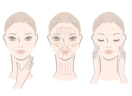 autocuidado: Conjunto de mujer hermosa, elegante masajear su cara y el cuello, que muestra cómo las líneas de masaje