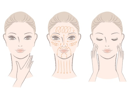 Set of beautiful, elegant woman massaging her face and neck, showing how to with massage lines  Vector