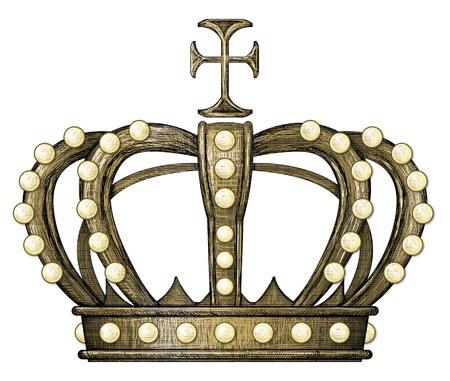 engraving print: Vintage, antique style illustration  Crown  Royal  Stock Photo