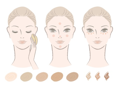 foundation: Beautiful woman and how to apply foundation and concealer with color swatches  Isolated on white  Cut-out  For other variation, check my portfolio