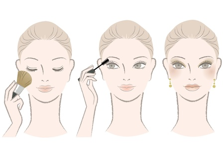 cheek: Beautiful woman on makeup procedure - mascara,cheek Isolated on white  Vector NOTE  This EPS file contains gradient meshes which is editable in Adobe illustrator only  Illustration