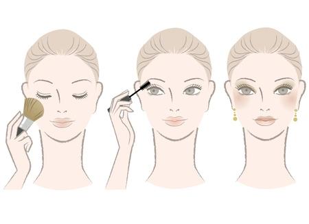 rímel: Mulher bonita no procedimento de maquiagem - r�mel, rosto, isolado, branca Vetor EPS NOTA Este arquivo cont�m malhas de gradiente, que � edit�vel em apenas Adobe Illustrator