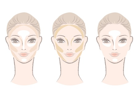 Highlighting and shading area chart showing to contour  corrective face shape For other variation, check my portfolio   Illustration