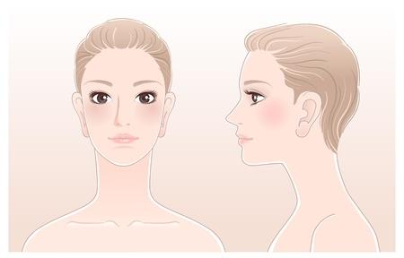 孤立したブレンド ツールを使用して美しい女性、前面と側面ビューの肖像画