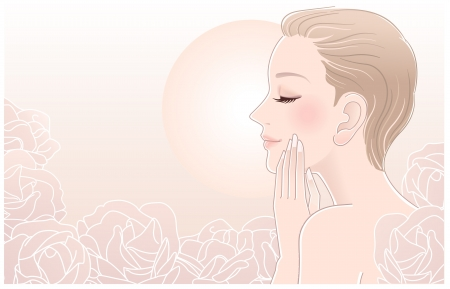 Beautiful woman touching her face in rose flowers   Illustration