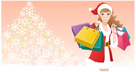 Santa Girl holding shopping bags on tree of snowflakes background