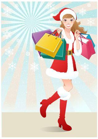Santa Girl holding shopping bags on snowflakes Stock Vector - 16150926