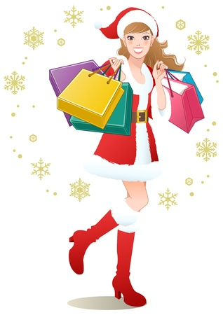 Santa Girl holding shopping bags on snowflakes Christmas shopping Vector Illustration