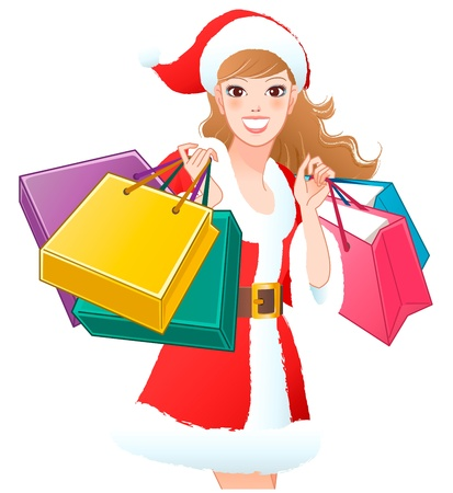 cropped: Close-up Santa Girl shopping Christmas gifts  Cropped  White background
