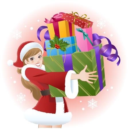 Santa girl holding christmas gift boxes on snow background Vector Illustration