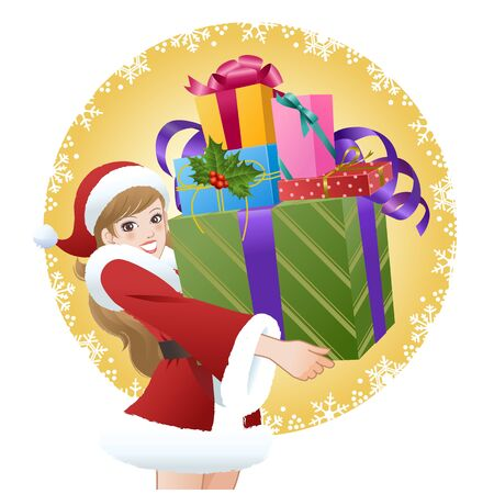 Beautiful woman wearing Santa costume holding gift boxes on snowflake pattern background