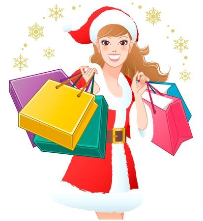 クローズ アップ サンタガール雪片トリミング白い背景の上のクリスマスのギフトのショッピング