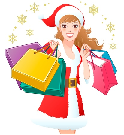 woman close up: Close-up Santa Girl shopping Christmas gifts on snowflakes  Cropped  White background