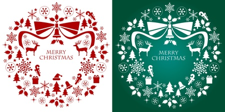 winterberry: Christmas silhouette collection wreath  Design elements  Vector
