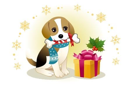 Beagle dog biting ribboned bone with christmas present box    Stock Vector - 16698884