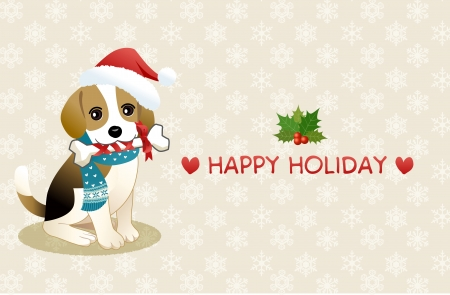Young Beagle dog chewing ribboned bone with holiday message  Copy space  Vector
