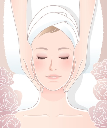 close up face: Beautiful woman receiving facial massage