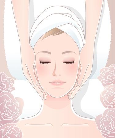 Mujer hermosa que recibe el masaje facial Ilustración de vector