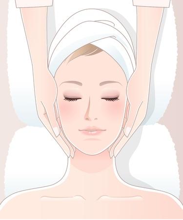 woman lying down: Mujer hermosa que tiene masaje spa Vectores