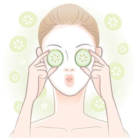 顔のマスクを適用した若い女性は彼女の目にベクトル透明きゅうりをスライス