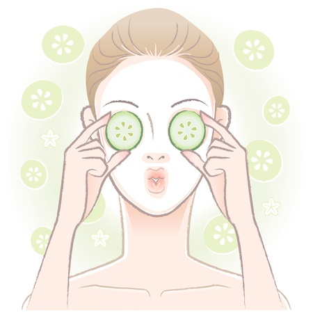 cucumber slice: Young woman with facial mask  applying sliced cucumber on her eyes  Vector Transparency Illustration