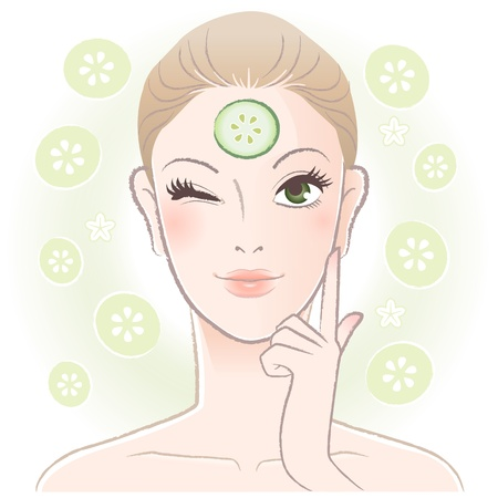 beauty mask: Pretty woman applying cucumber slice mask on her forehead  Vector  Transparency Illustration