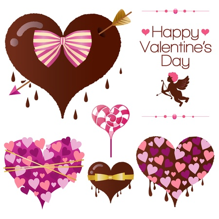 Set of valentine s heart candy Vector