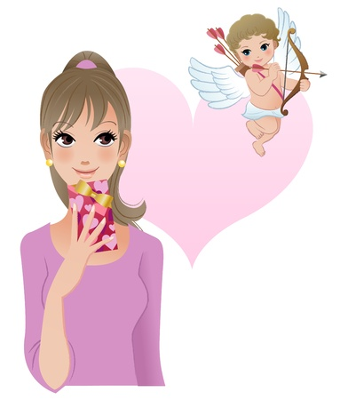 ringlet: Girl with cupid, Valentine s Day Illustration
