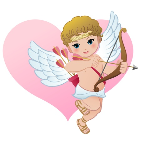 cute angel: Cute Cupid with heart shape