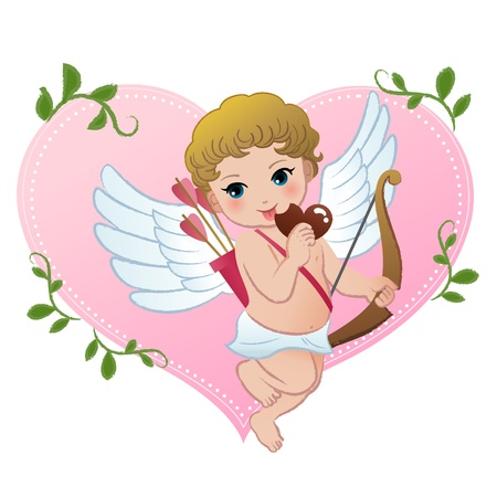 Mischief cupid biting heart shaped chocolate   Vector