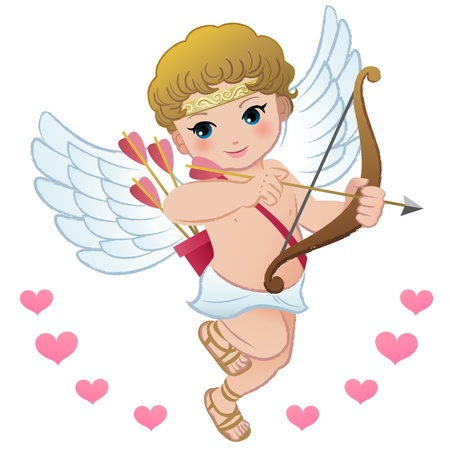 Flying Cute cupid setting bow with hearts Illustration