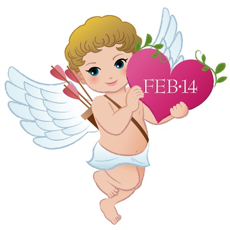 Cupid holding Valentine Vector