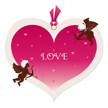 Big heart tag and cupids  Valentine Vector