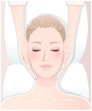 woman lying down: Mujer hermosa que tiene masaje spa. La transparencia, la mezcla de herramientas, gradaci�n se utiliza. EPS10 archivo.
