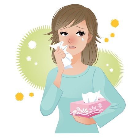 sneezing: Woman with watery eyes suffering from pollen allergies  Illustration