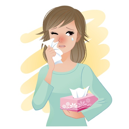 sneezing: Watery eyed woman hodling facial tissue box  Illustration