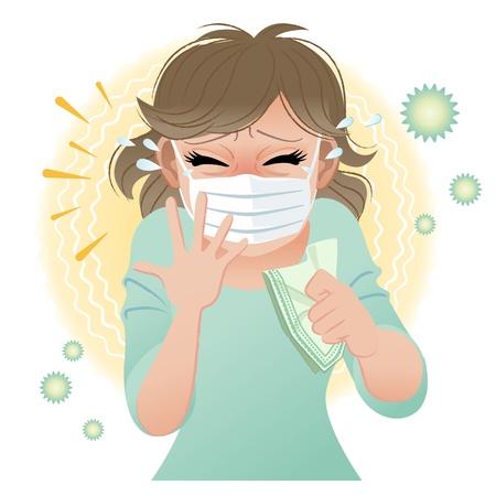 watery: Donna soffre di allergie da polline starnutisce Sfumature e strumento di miscelazione viene utilizzato