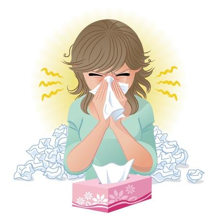 sneezing: Donna che soffia il naso febbre da fieno, allergie, sfumature influenza e strumento fusione viene utilizzato
