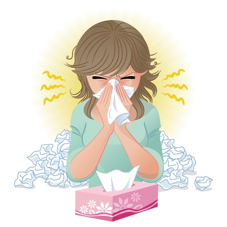 Vrouw blaast neus Hooikoorts, allergie, griep Verlopen en blend tool wordt gebruikt Vector Illustratie