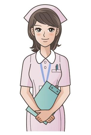 笑みを浮かべて、一緒に手を置くクリップボードとかわいい若い看護婦のグラデーションを使用